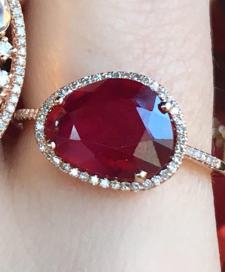 Organic Shape Ruby Diamond Ring