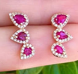 Ruby Diamond Pear Shape Ear Climbers