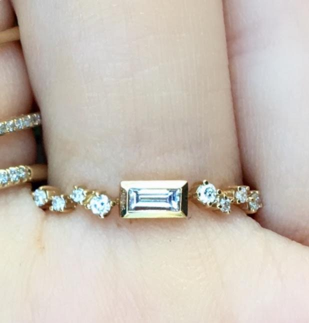 Bezel Baguette Staggered Diamond Ring