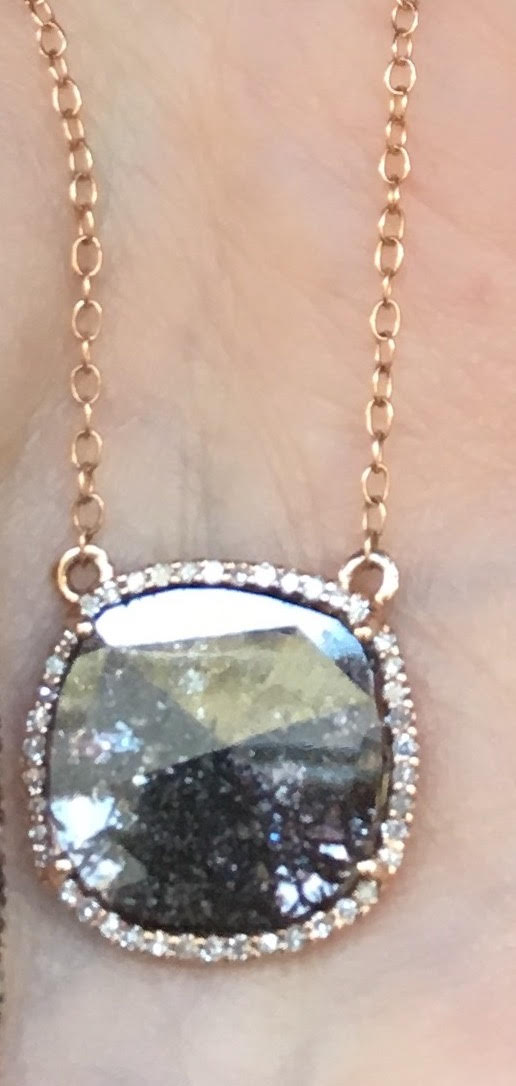 Raw Black Diamond Slice Necklace