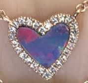Small Pink Opal Diamond Heart Necklace