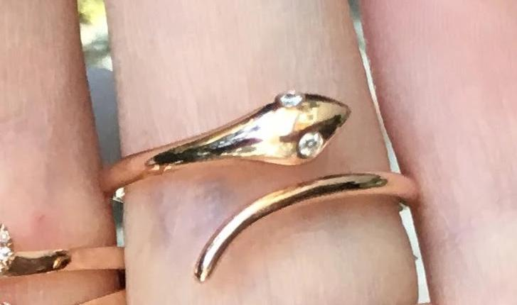 Plain Baby Snake Ring With Diamond Eyes