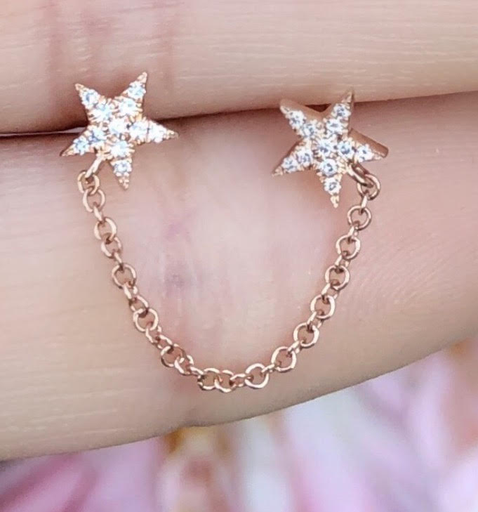 Double Diamond Star Studs With Chain Connecting
