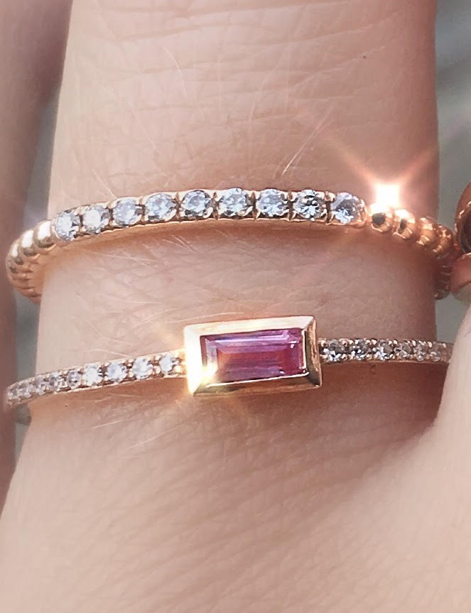Pink Sapphire Baguette & Diamond Ring