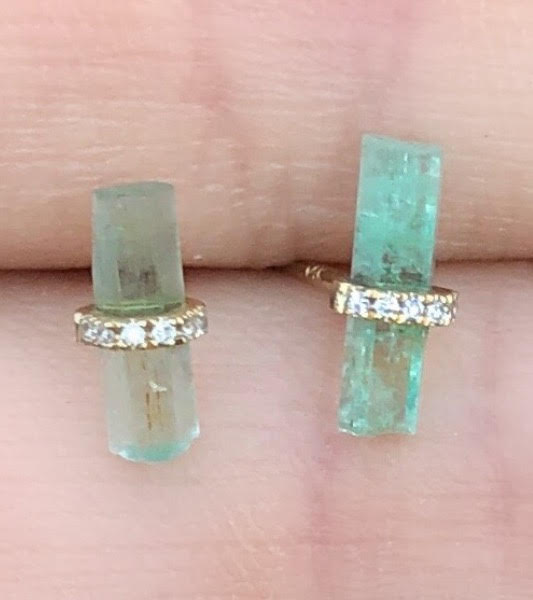Greenish Blue Tourmaline Crystal Diamond Studs