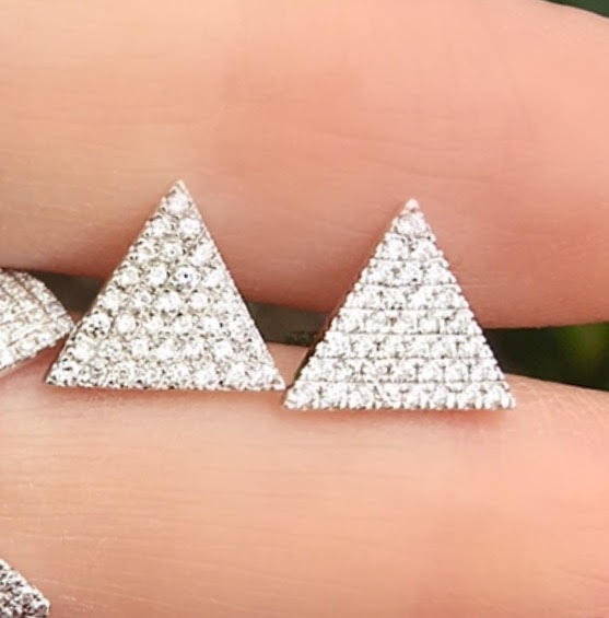 XL Diamond Pave Triangle Studs