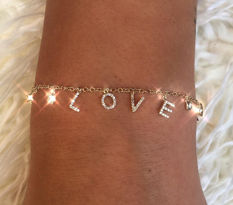 Multi Charm Diamond LOVE Bracelet