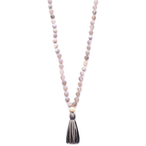 matte gray druzy agate & leather tassel