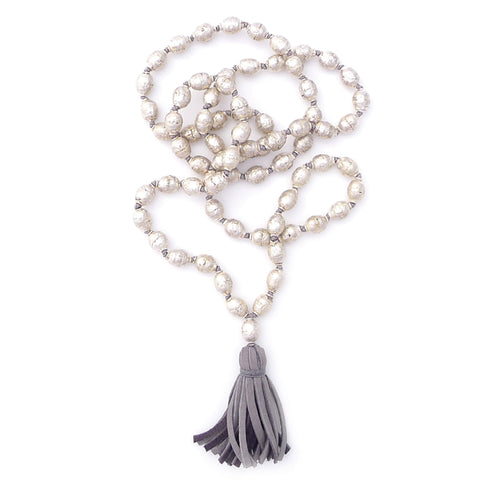 knotted silver beads & tassel