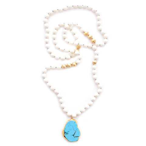 knotted white coral & turquoise pendant