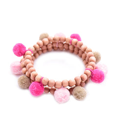 rose wood pom pom bracelet