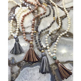 knotted mother of pearl & tassel