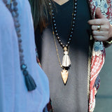 knotted dark gray pearls & tassel