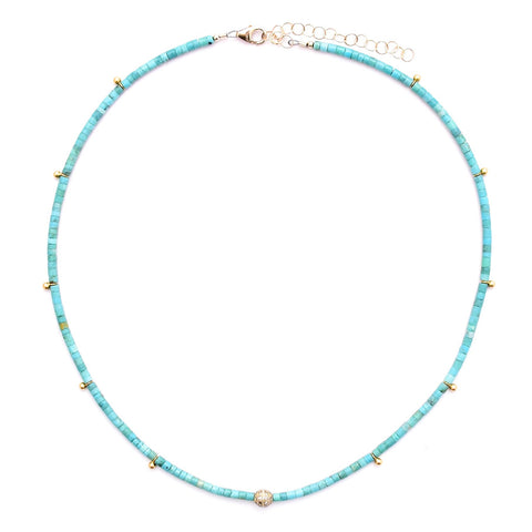 turquoise heishi & diamond ball
