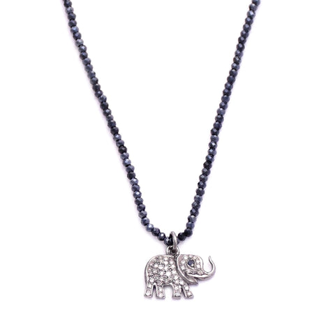 black spinel & mini diamond elephant