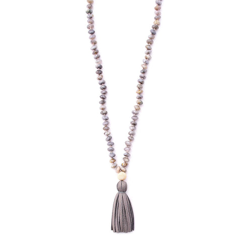 bamboo agate & leather tassel