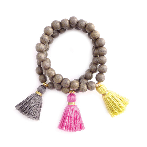 gray wood tassel bracelet
