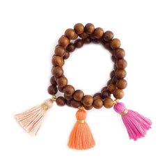 medium wood tassel bracelet