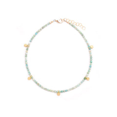 amazonite & gold flowers anklet