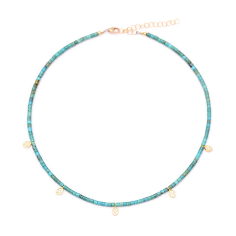 turquoise heishi & pave oval drops