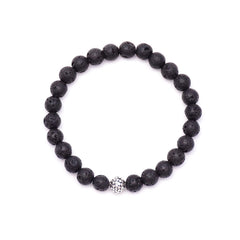men's circles bead & lava rock