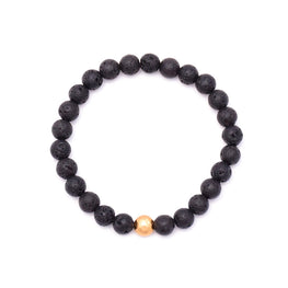 men's gold hammered bead & lava rock