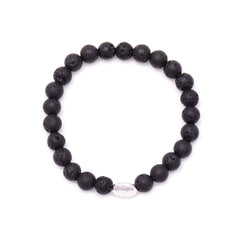 men's oval hammered bead & lava rock