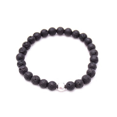 men's round hammered bead & lava rock