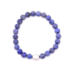 men's oval hammered bead & lapis