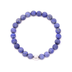 men's round hammered bead & lapis