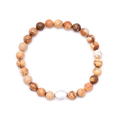 men's oval hammered bead & picture jasper