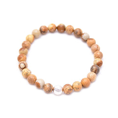 men's round hammered bead & picture jasper