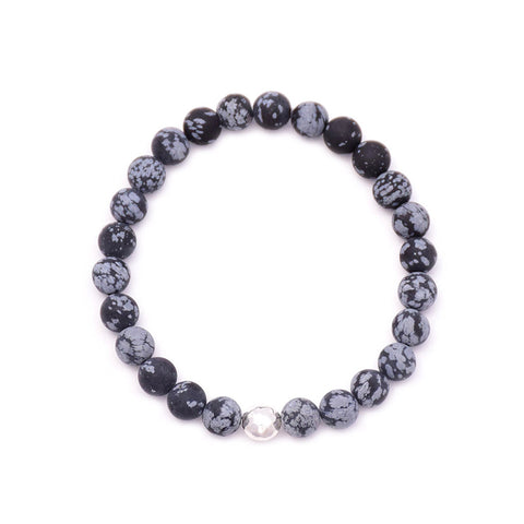 men's round hammered bead & snowflake obsidian