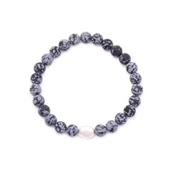 men's oval hammered bead & snowflake obsidian