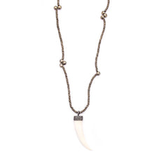 Pyrite & Diamond Horn Pendant
