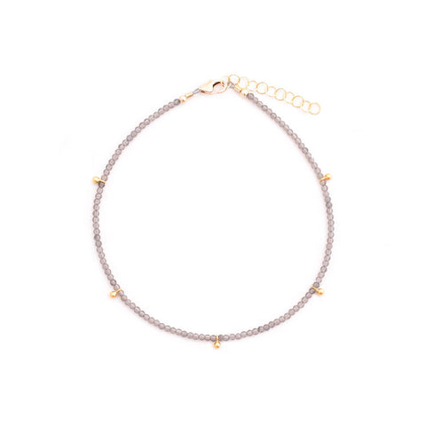 smoky quartz & gold drops anklet