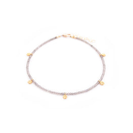 smoky quartz & gold flowers anklet