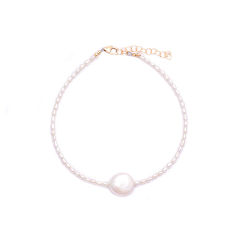 white rice pearls & coin pearl anklet
