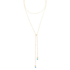 wire-wrap Moonstone chain lariat