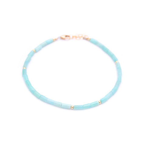 amazonite tube beads anklet