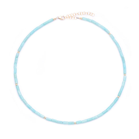 amazonite tube beads choker