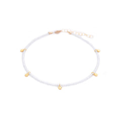 aquamarine & gold flowers anklet