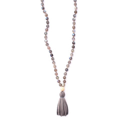 labradorite & leather tassel