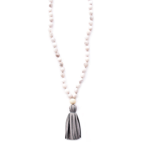 white agate & leather tassel