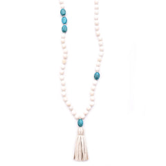 shell, turquoise nuggets & leather tassel