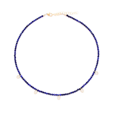 lapis & 5 gold pave oval drops