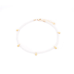 moonstone & gold flowers anklet