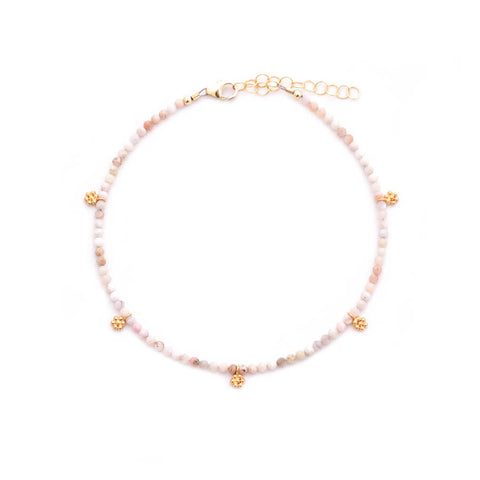 pink opal & gold flowers anklet
