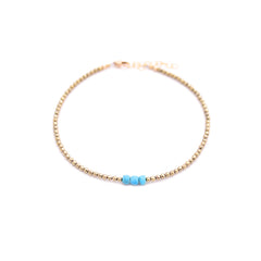 pyrite & turquoise anklet
