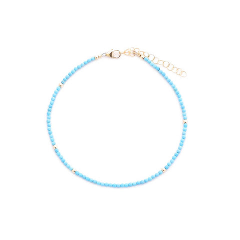 turquoise & gold beads anklet